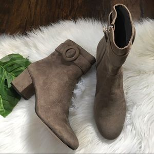 Nine West Quilby Suede Buckle Ankle Boots